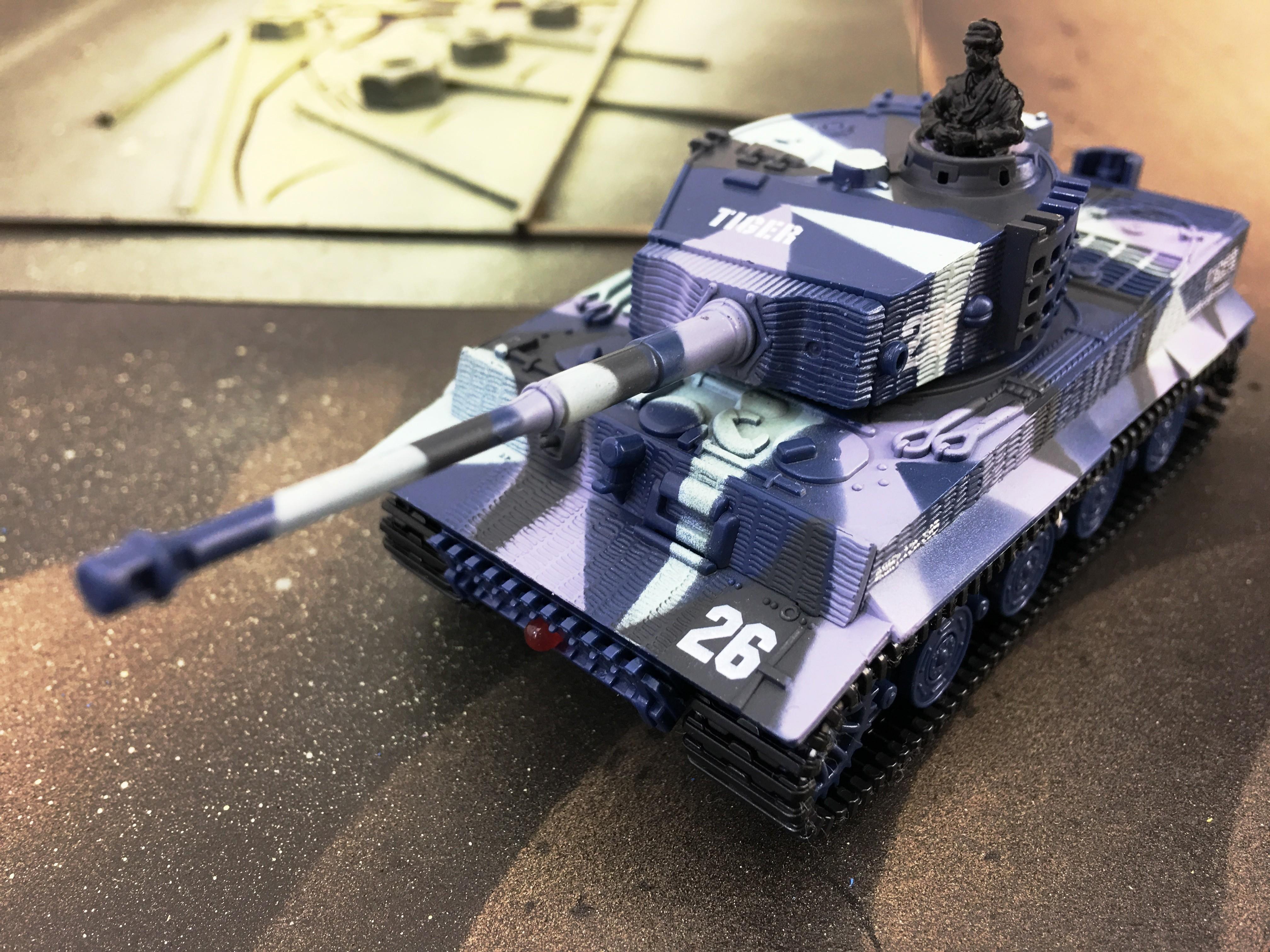 RC tank, RC mini tank Tiger se zvuk. modulem, modrý