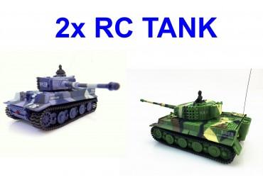 2x RC mini tank Tiger se zvuk. modulem pro sourozence